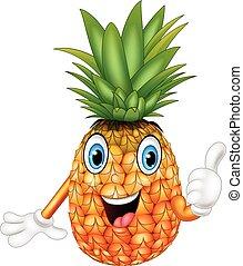 geven, spotprent, ananas, op, duimen