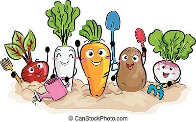 gewas, wortel, gereedschap, tuin, mascotte