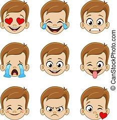 gezicht, uitdrukkingen, emoji, jongen