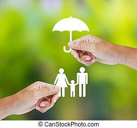 gezin, concept, verzekering