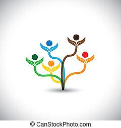 gezin, eco, -, concept., boompje, vector, teamwork, pictogram