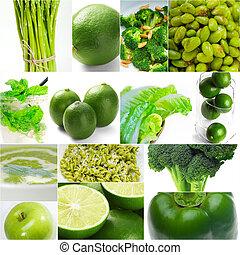 gezond voedsel, collage, groene, verzameling