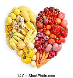 gezond voedsel, gele, rood