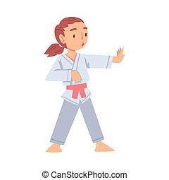 gezonde , karate, geitje, beoefenen, kunst, meisje, sporten, stijl, illustratie, krijgshaftig, levensstijl, vector, concept, spotprent