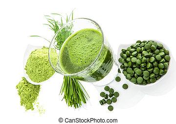 gezonde , supplements., detoxicatie, groene, superfood.