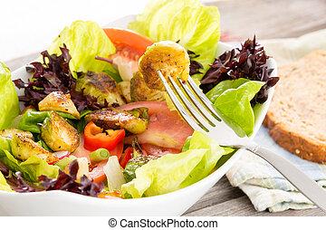 gezonde , vegetariër, het genieten van, maaltijd