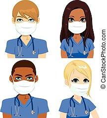 gezondheid, verpleegkundige, masker, team