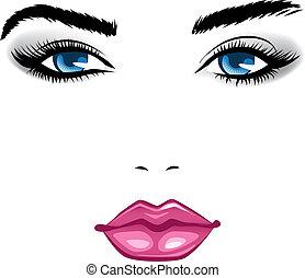 girl., beauty, gezicht