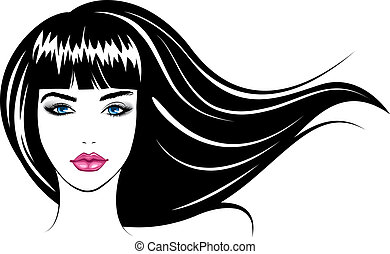 girl., vector, illustratie, gezicht