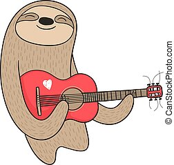 gitaar, luiaard, spotprent, spelend