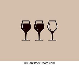 glas, boompje, achtergrond, wijntje