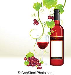 glas, druif, fles, wijntje