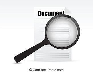 glas, zoeken, document, -, vergroten
