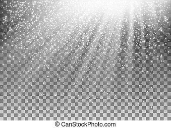 gloeiend, vector, achtergrond., effect, transparant, licht