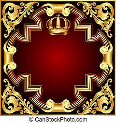 gold(en), model, kroon, vignet, illustratie, achtergrond, uitnodiging