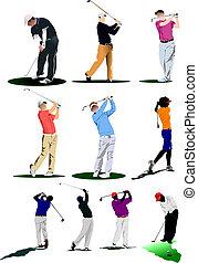 golf, players., illustratie, vector