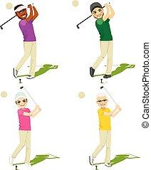 golf, set, mannelijke