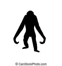 gorilla, witte , vector, silhouette, achtergrond