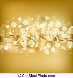 goud, achtergrond, lint
