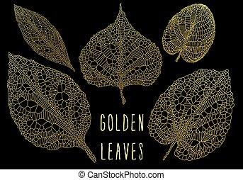 goud, bladeren, vector, set, ader