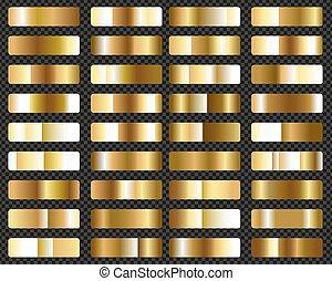 goud, groot, set, metalen, gradients, achtergrond, transparant