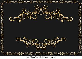 goud, model, ornament, illustratie, luxe, randjes