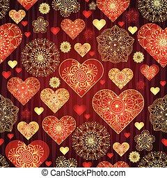 goud, model, valentijn, donker, ouderwetse , hartjes, glanzend, rood