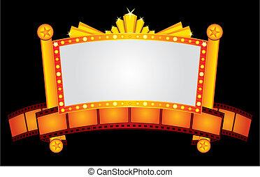 goud, neon, bioscoop