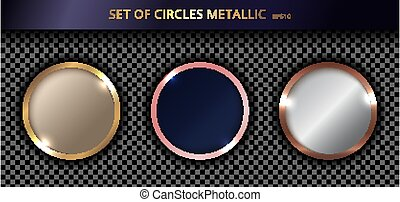 goud, transparant, cirkels, achtergrond, set, metalen