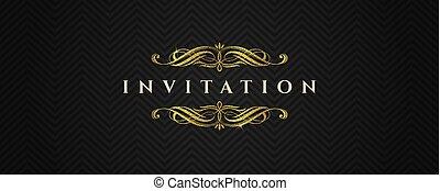 goud, -, uitnodiging, vector, black , schitteren, model, communie, mal, chevron, flourishes, illustratie