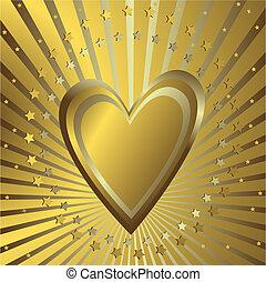 gouden achtergrond, hart