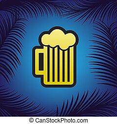gouden, bl, teken., glas, bier, black , vector., omtrek, pictogram