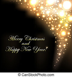 gouden, bokeh, achtergrond, zalige kerst
