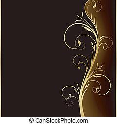 gouden, communie, donker, elegant, ontwerp, achtergrond, floral