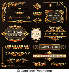 gouden, communie, ontwerp, calligraphic