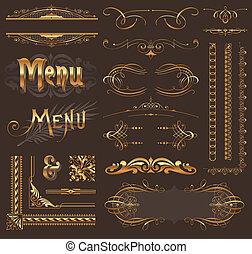 gouden, decor, communie, &, ontwerp, sierlijk, pagina
