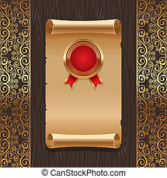 gouden, goud, ouderwetse , zeehondje, textuur, papier, motieven, backround, vector, black , sierlijk, hout, boekrol