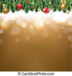gouden, grens, kerstmis, achtergrond