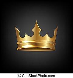 gouden kroon, vrijstaand, achtergrond, black