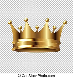 gouden kroon, vrijstaand, achtergrond, transparant