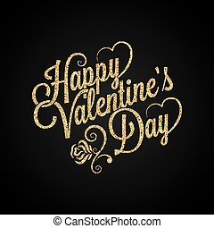 gouden, lettering, ouderwetse , valentines, achtergrond, dag