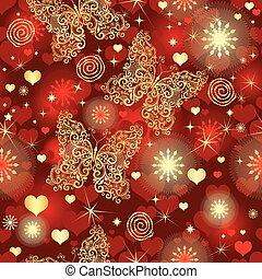 gouden, levendig, model, seamless, valentijn, vlinder, hartjes, rood