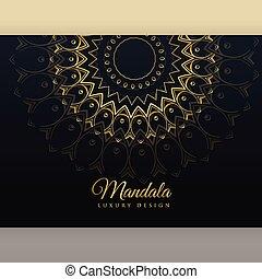 gouden, poster, black , luxe, ontwerp, mandala