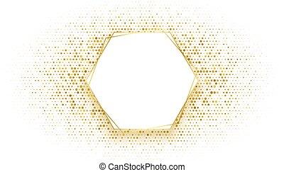 gouden, schitteren, zeshoekig, frame, ontwerp, achtergrond