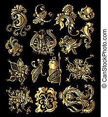 gouden, set, ouderwetse , ornament, versiering, communie, floral