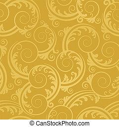 gouden, swirls, behang, seamless