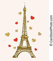 gouden toren, eiffel, het glanzen, hartjes