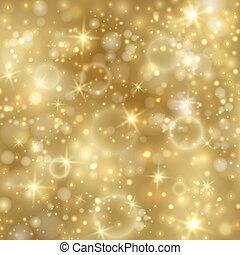 gouden, twinkly, sterretjes, achtergrond, lichten