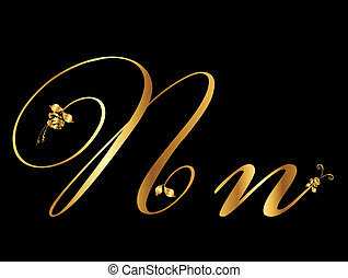 gouden, vector, brief n