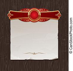 gouden, vector, ouderwetse , frame, backgraund, papier, black , hout, spandoek